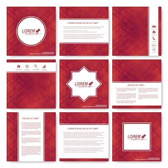 正方形のテンプレートパンフレットの赤いセット。ビジネス、科学、医学、テクノロジー