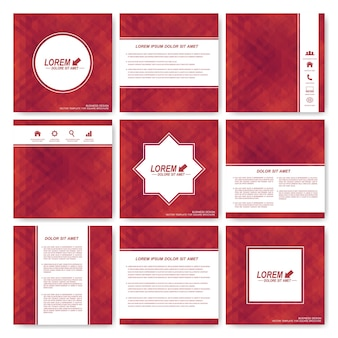 Red set of square template brochure. business, science, medicine and technology