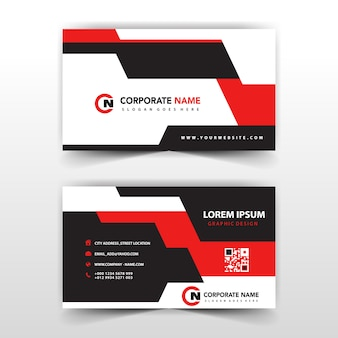 Red shape business card