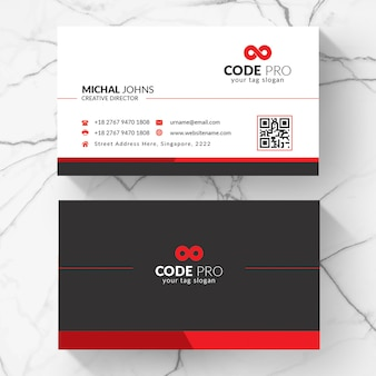 Red shape visit card
