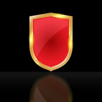 Red shield on black background