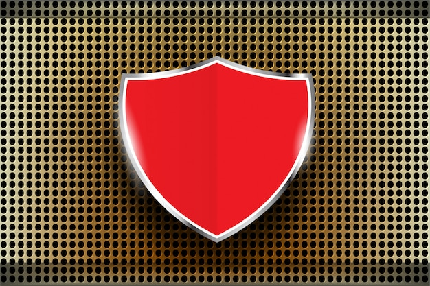 Red shield metal perforated texture