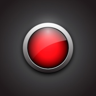 Red shiny button with metallic elements. button with shadow, bla