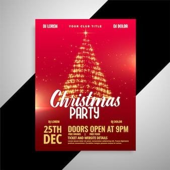 Red shiny christmas party poster design template