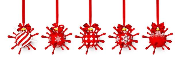 赤い弓を持つウイルスユニットのような赤い光沢のある輝くクリスマスボール