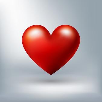 バレンタインデーのために白い背景に隔離された赤い光沢のある心