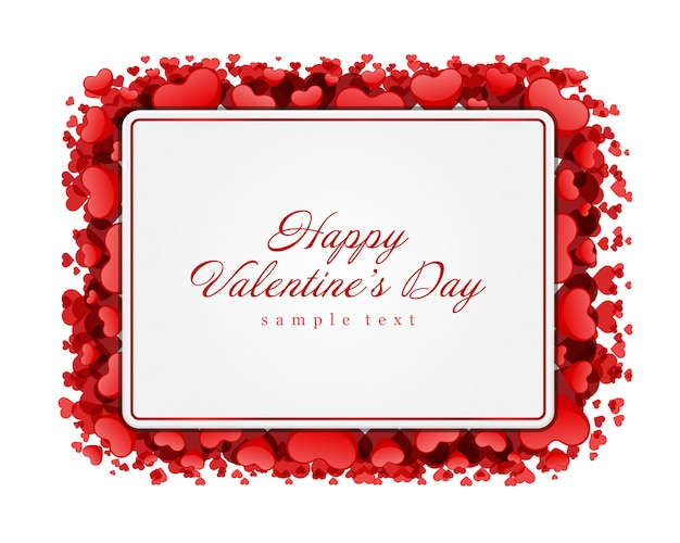 Red shiny hearts valentines day greeting card frame illustration