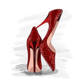 赤い光沢のあるかかとの靴
