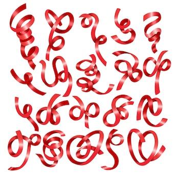 Красные блестящие наборы лент