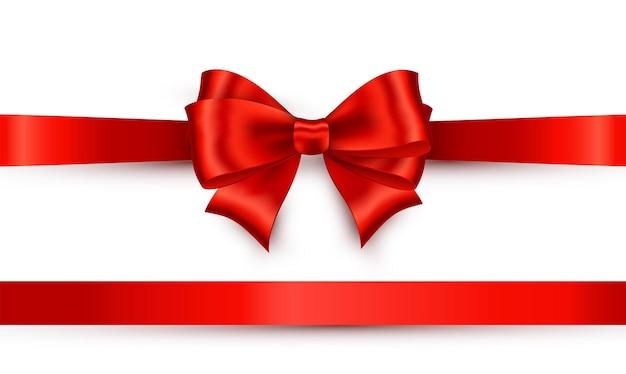 白い背景の上の赤い光沢のあるサテンリボン。シルクボウレッドカラー。ギフトカードと割引券のベクトル装飾。