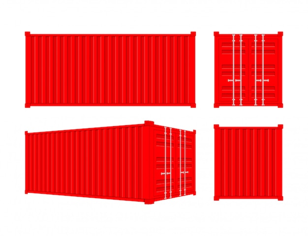 Red shipping cargo container twenty and forty feet. for logistics and transportation