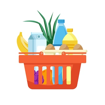 Красная корзина для покупок, полная продуктов