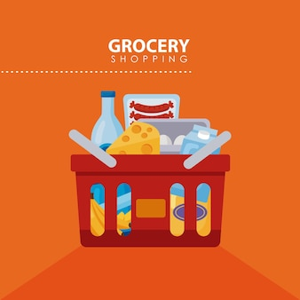 食料品の赤い買い物かご