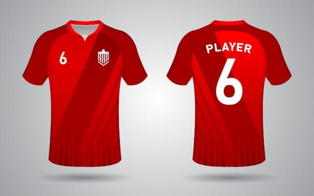 Красный шаблон с коротким рукавом футбольного свитера
