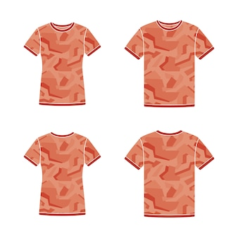 Red short sleeve t-shirts templates with the camouflage pattern
