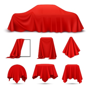 Red silk cloth covered objects realistic set with draped frame car hanging napkin tablecloth curtain