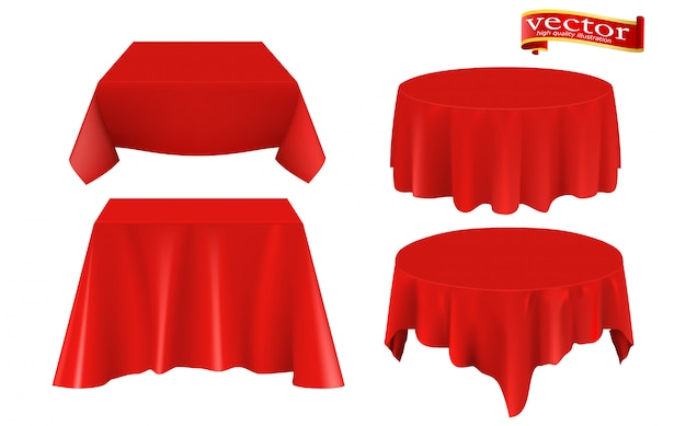 Red silk cloth covered table realistic set.