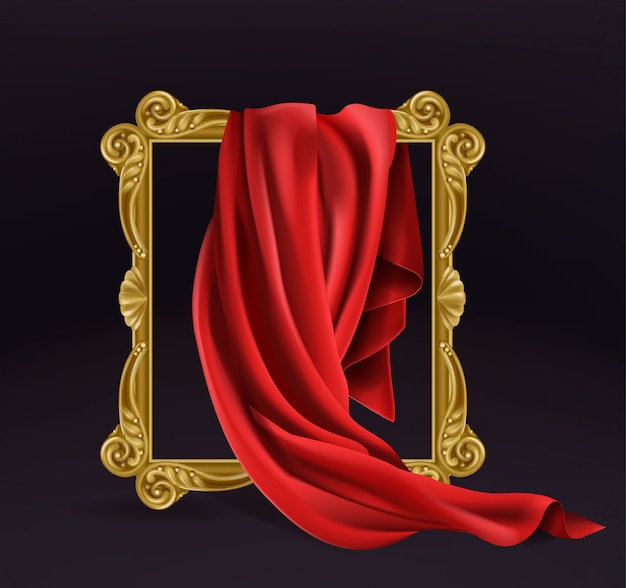 Red silk cloth covering wooden photo frame