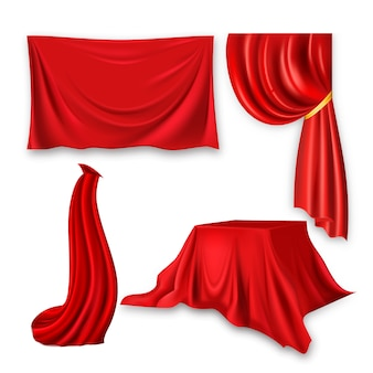 Red silk cloth set. fabric cloth waving shape