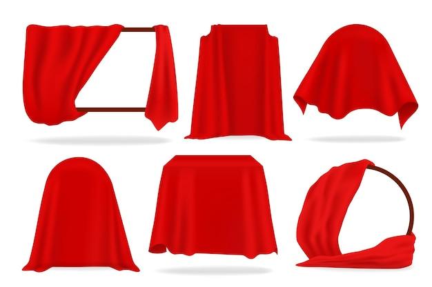 레드 실크 커버. 3d 열린 커튼, 빨간색 천 개체, 냅킨 및 식탁보로 덮인 현실감. 벡터 일러스트 레이 션 고급스러운 패브릭 흰색 배경에 고립 된 패션 장식 세트