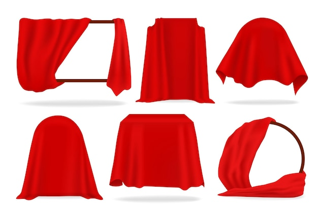 Red silk cover. 3d opened curtains, realistic covered with red cloth objects, napkins and tablecloth. vector illustration luxurious fabric set for fashion decoration isolated on white background