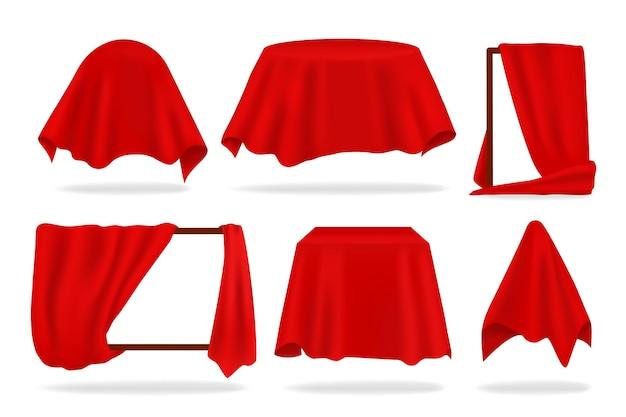 Красное шелковое покрытие. реалистичные закрытые объекты с тканевой драпировкой или открытой занавеской, красной салфеткой или скатертью
