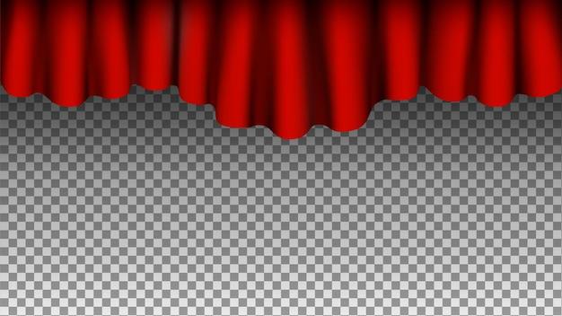 赤い絹のカーテンの背景。透明な背景に分離されたカーテン。