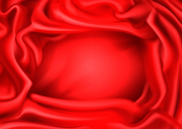 Red silk draped fabric background.