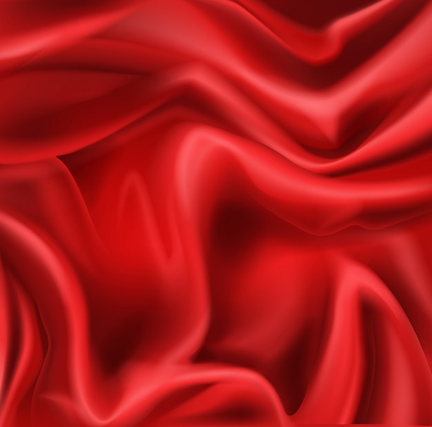 Red silk folded fabric background, luxurious textile decoration background