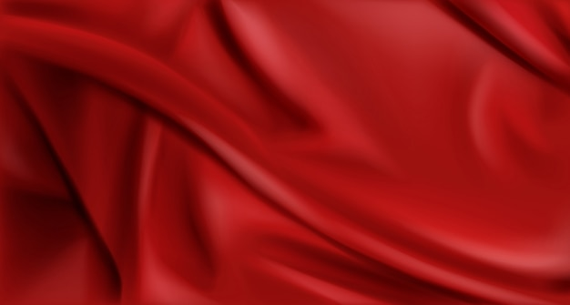 Red silk folded fabric background, luxury textile