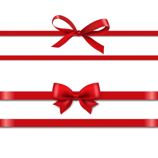Красный шелковый набор лент изолировать на белом