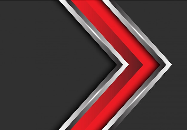 Red silver arrow direction on grey blank space background.