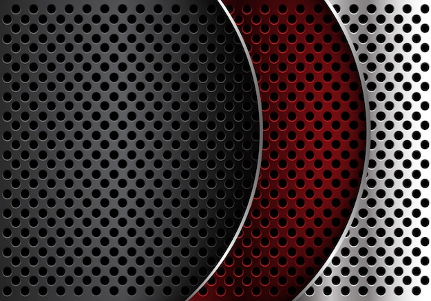 Red silver grey metal circle mesh curve overlap background.