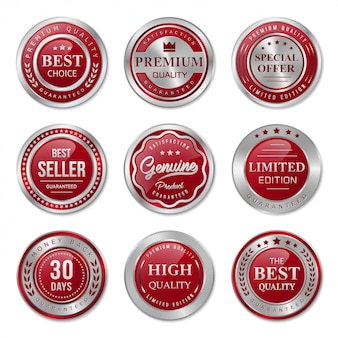 Red and silver metal badges and labels collection