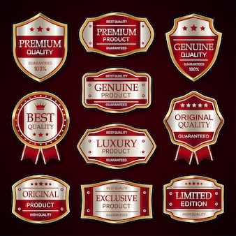 Red and silver premium vintage badge and labels collection