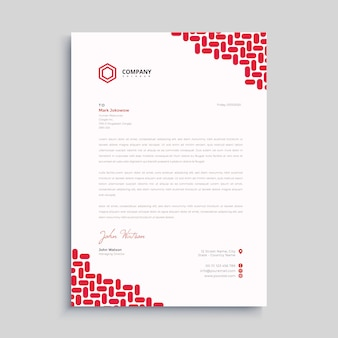 Red simple letterhead premium