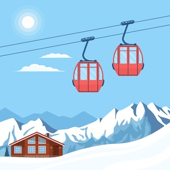 스키어와 스노우 보더를위한 빨간 스키 오두막 리프트는 케이블카 겨울 눈 산에서 공중으로 움직입니다.