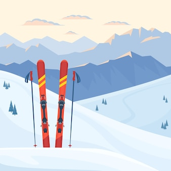 스키장에서 빨간 스키 장비. 눈 덮인 산과 슬로프, 겨울 저녁 및 아침 풍경, 일몰, 일출. 평면 그림.