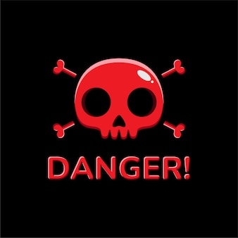 붉은 해골 머리 디자인 위험 표시