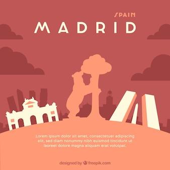Red skyline of madrid