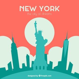 Red skyline of new york