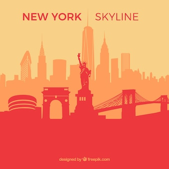 Red skyline of new york