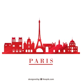 Red skyline of paris on white background