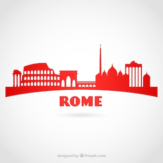 Red skyline of rome