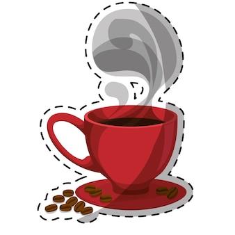 증기와 접시와 함께 빨간 작은 커피 컵