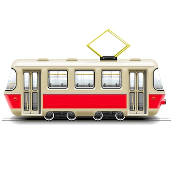 Red small tram