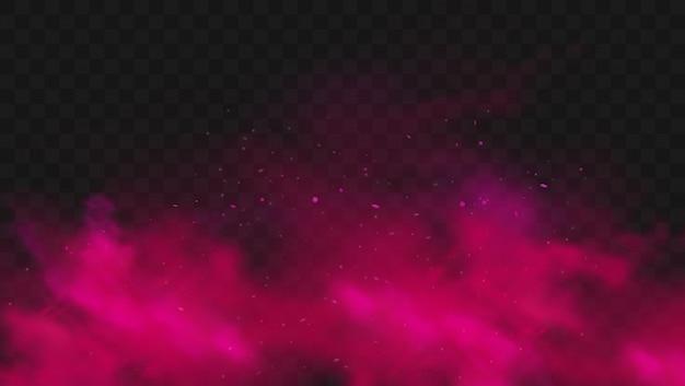 赤い煙または霧の色が透明な暗い背景に分離されました。粒子と抽象的なピンクの粉の爆発。カラフルなダストクラウドが爆発し、ホーリー、ミストスモッグ効果をペイントします。リアルなイラスト