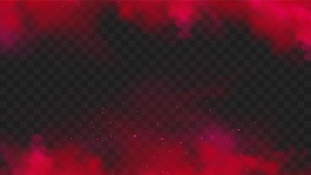 Красный дым или цвет тумана, изолированные на прозрачном темном фоне. абстрактный красный взрыв порошка с частицами. красочное облако пыли взорвется, краска холи, эффект туманного смога. реалистичная иллюстрация.