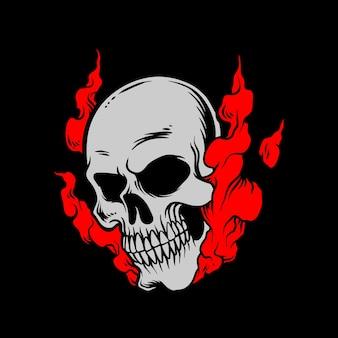 赤い煙の頭蓋骨