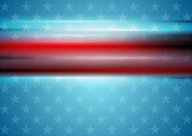 Красные гладкие полосы на фоне голубой звезды. день независимости сша векторный фон